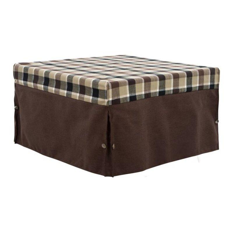 Σκαμπό κρεβάτι υφασμάτινο σε χρώμα καφέ/καρό 75,5x75,5x47