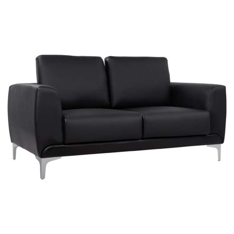 """Καναπές """"KΕΝΖΙΕ"""" διθέσιος από PU σε χρώμα μαύρο 142x81x81"""
