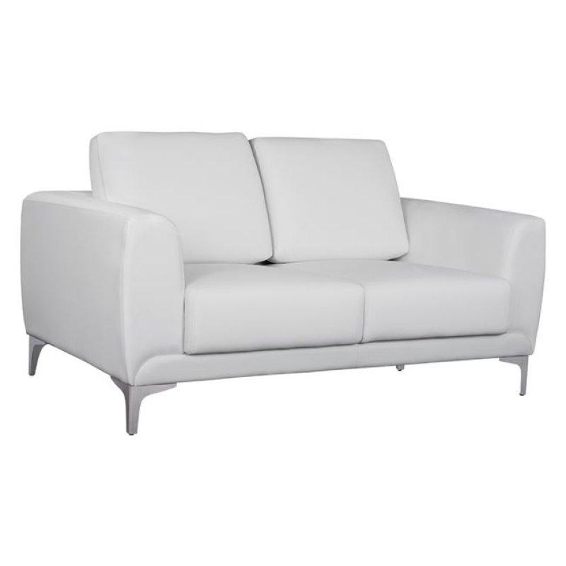 """Καναπές """"KΕΝΖΙΕ"""" διθέσιος από PU σε χρώμα λευκό 142x81x81"""