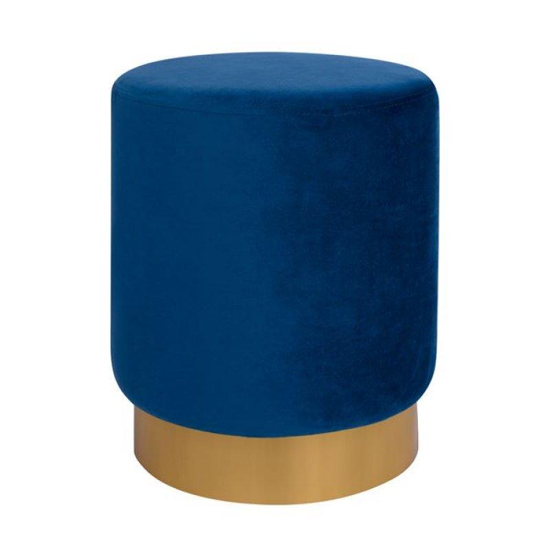 """Σκαμπώ """"LEVY """" βελούδινο σε χρώμα μπλε με χρυσή βάση Φ35x43"""