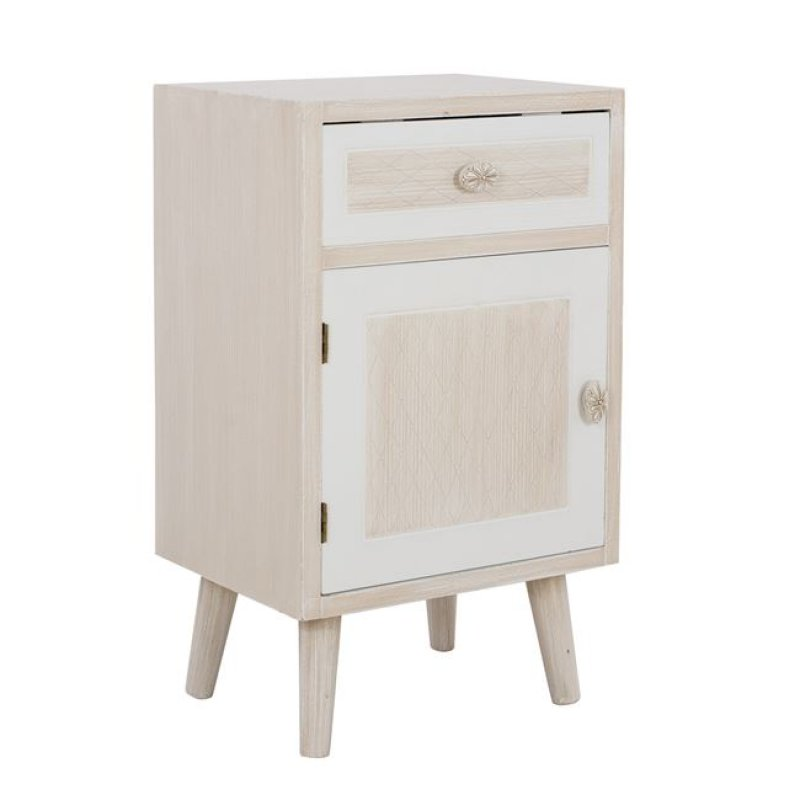 """Κομοδίνο """"VALERIE"""" ξύλινο σε χρώμα μπεζ/εκρού 40,5x30,5x67"""
