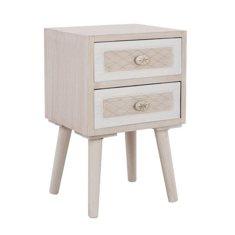 """Κομοδίνο """"VALERIE"""" ξύλινο σε χρώμα μπεζ/εκρού 37x31x58"""