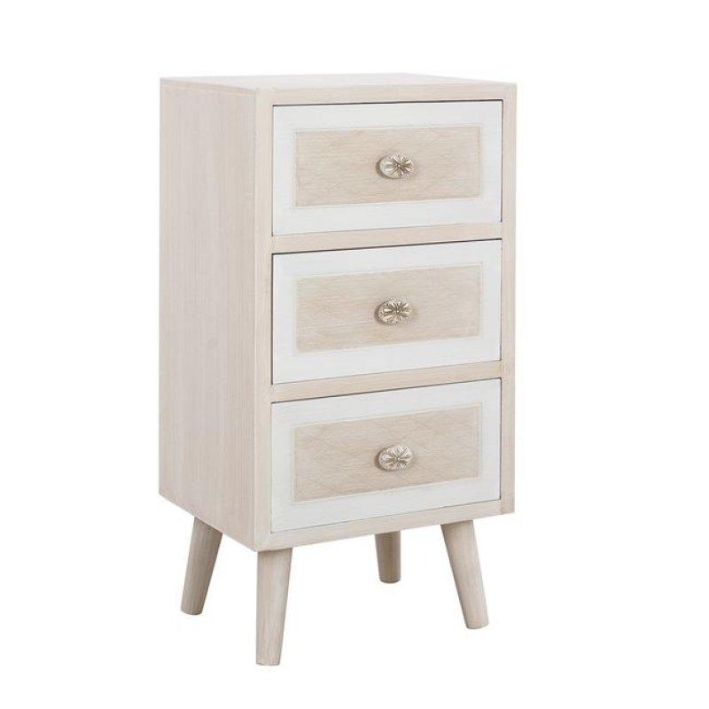 """Συρταριέρα """"VALERIE"""" ξύλινη σε χρώμα μπεζ/εκρού 30x31x73"""