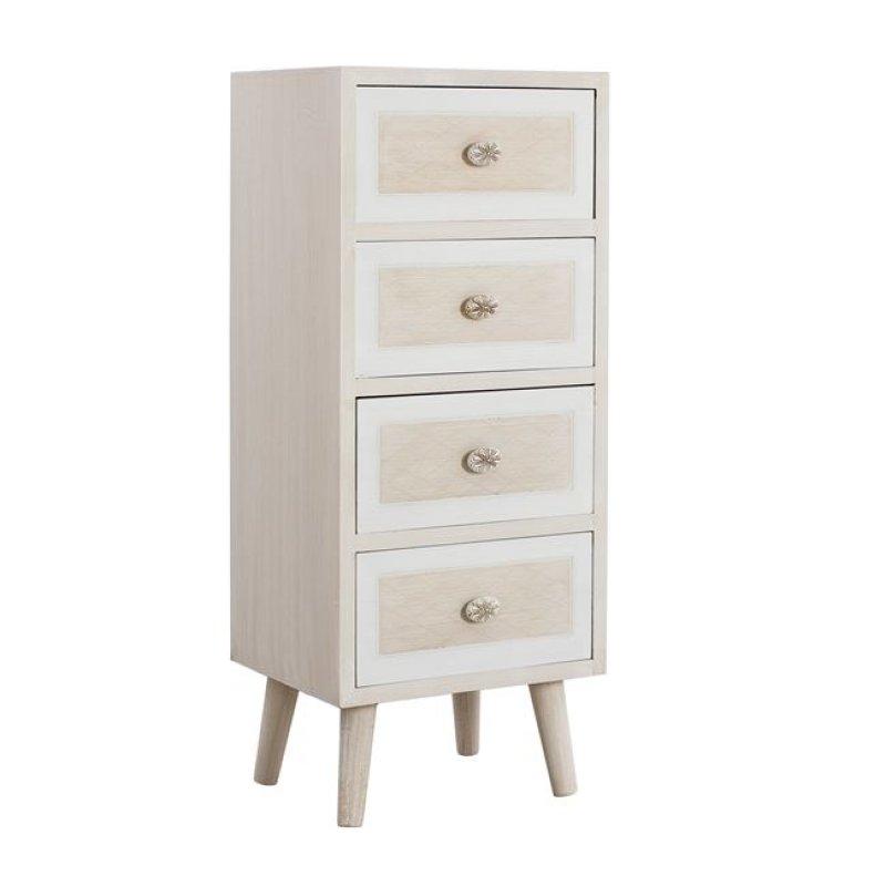 """Συρταριέρα """"VALERIE"""" ξύλινη σε χρώμα μπεζ/εκρού 38x30,5x91"""
