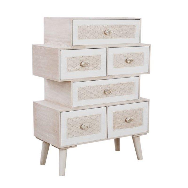 """Συρταριέρα """"VALERIE"""" ξύλινη σε χρώμα μπεζ/εκρού 60,5x30,5x84,5"""
