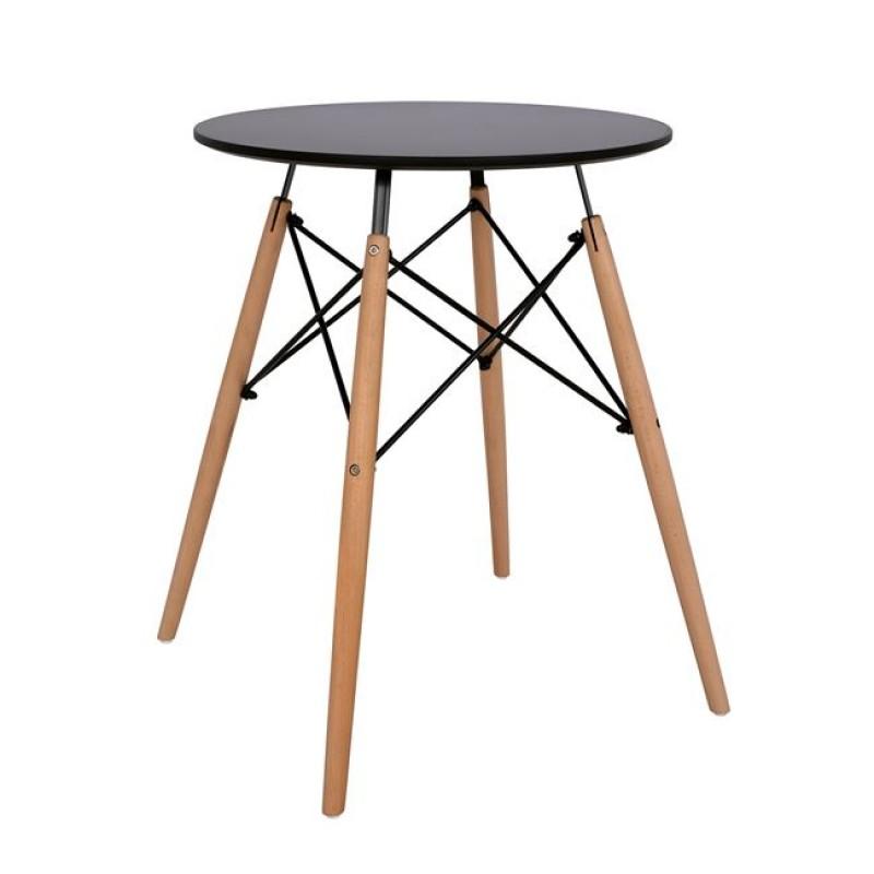 """Τραπέζι """"MINIMAL"""" από ξύλο/mdf σε χρώμα μαύρο/φυσικό Φ60x74.5"""