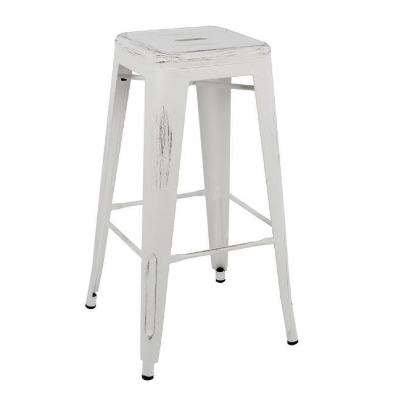 """Σκαμπό μπαρ """"MELITA"""" μεταλλικό σε χρώμα λευκή πατίνα 43x43x76,5"""