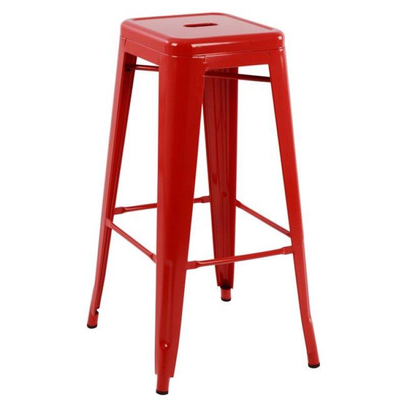 """Σκαμπό μπαρ """"MELITA"""" μεταλλικό σε χρώμα κόκκινο 43x43x76,5"""