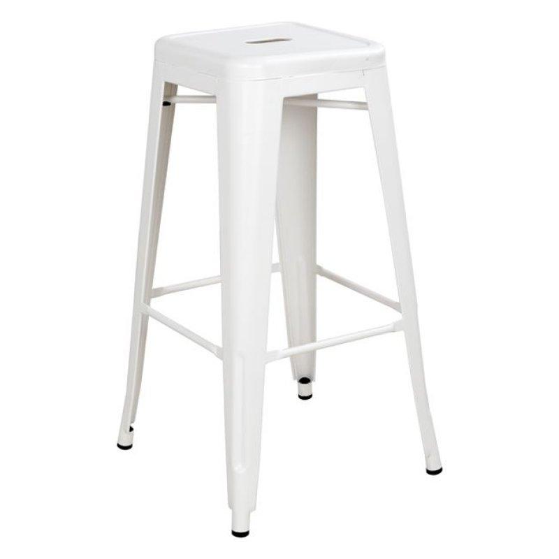 """Σκαμπό μπαρ """"MELITA"""" μεταλλικό σε χρώμα λευκό 43x43x76,5"""