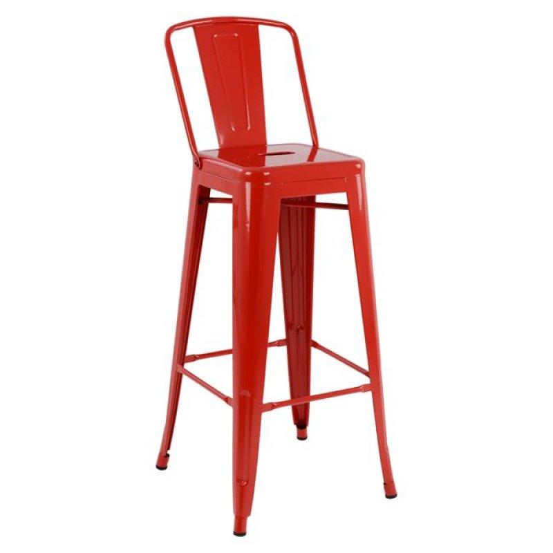 """Σκαμπό μπαρ """"MELITA"""" μεταλλικό σε χρώμα κόκκινο 43x43x104"""