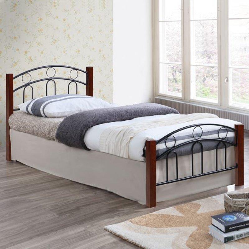 Κρεβάτι μεταλλικό/ξύλινο σε χρώμα καφέ/μαύρο 90x190