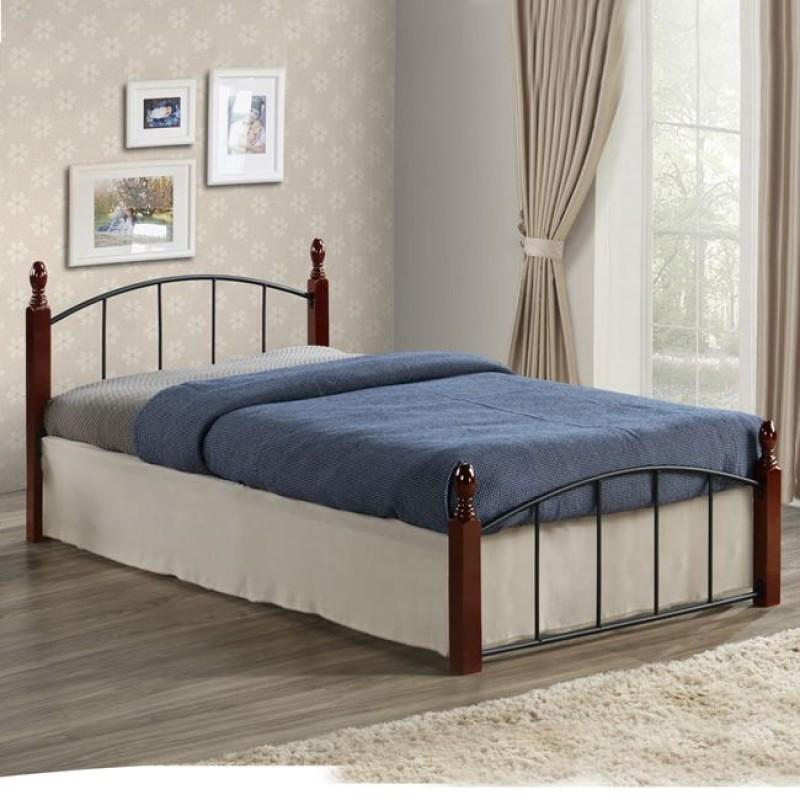 Κρεβάτι μονό μεταλλικό/ξύλινο σε χρώμα καρυδί/μαύρο 198x90x76