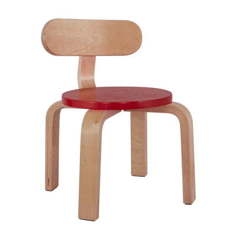 """Καρέκλα παιδική """"MATILDA"""" από ξύλο σε χρώμα φυσικό/κόκκινο 28x33x42"""