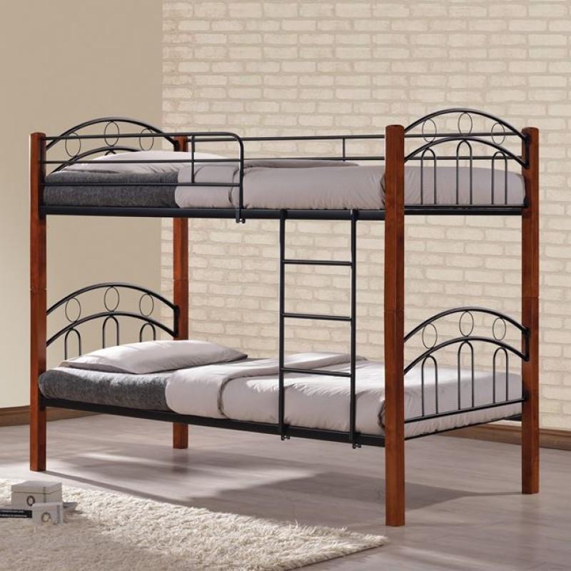Κουκέτα κρεβάτι μεταλλική/ξύλινη σε χρώμα καφέ/μαύρο 90x190