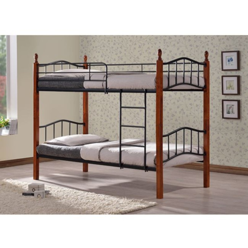 """Κουκέτα κρεβάτι """"MAX"""" μεταλλική/ξύλινη σε χρώμα καφέ/μαύρο 90x190"""