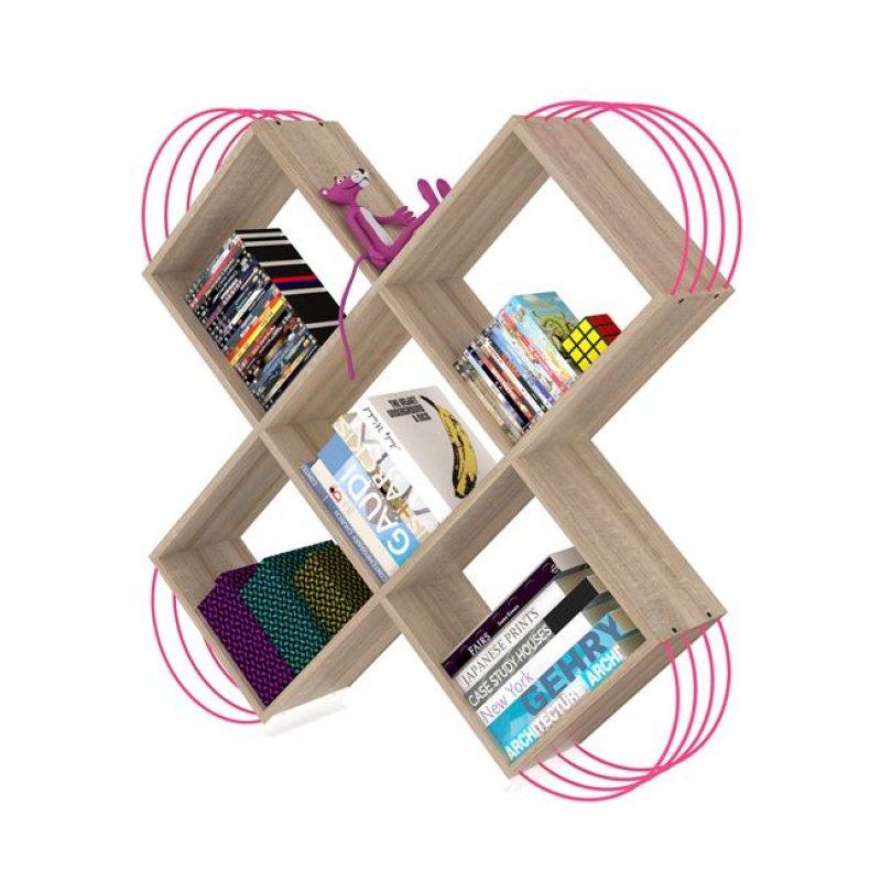 """Βιβλιοθήκη """"CASE"""" σε χρώμα σονόμα/φουξ 120x25x120"""