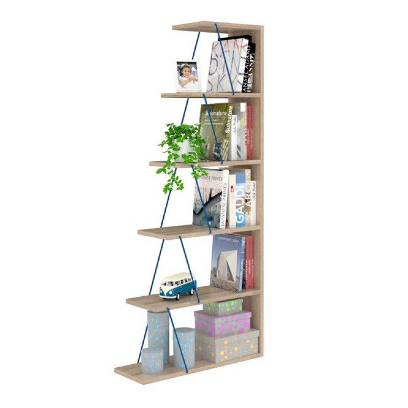 """Βιβλιοθήκη """"MINI TARS"""" σε χρώμα σονόμα/μπλε 65x22x146"""