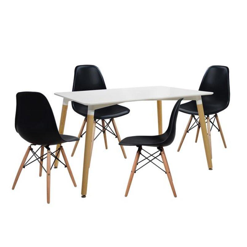 """Σετ τραπεζαρίας """"MINIMAL"""" 5τμχ από PP/ξύλο σε χρώμα μαύρο/φυσικό 120x80x73"""