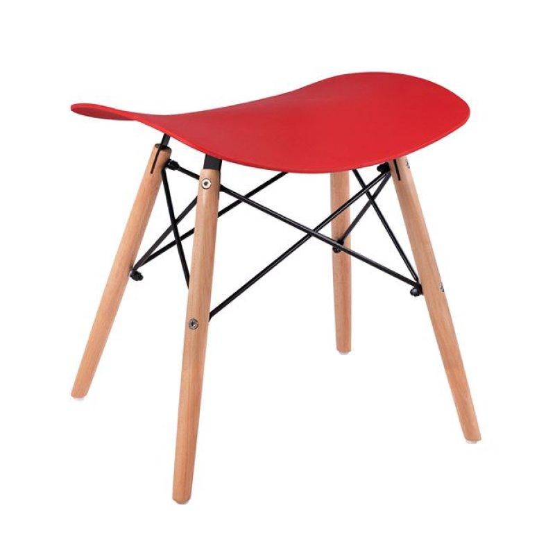 """Σκαμπό """"ΤΟΝΙΑ"""" από ξύλο/PP σε χρώμα κόκκινο/φυσικό 46,5x35x47"""
