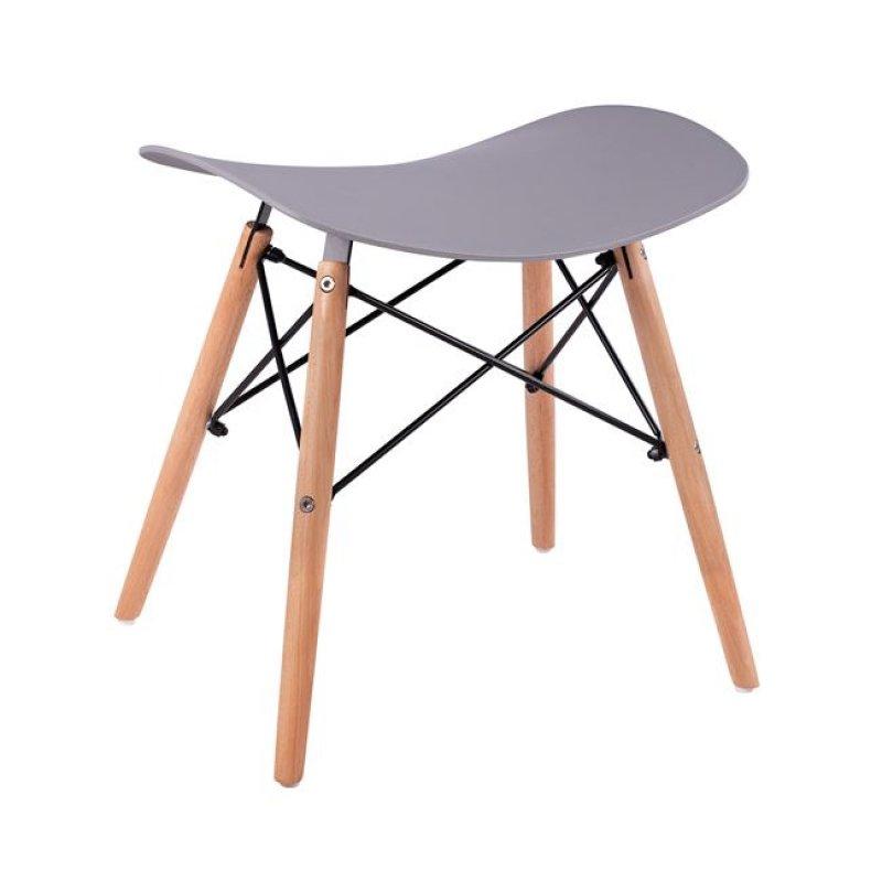"""Σκαμπό """"ΤΟΝΙΑ"""" από ξύλο/PP σε χρώμα γκρι/φυσικό 46,5x35x47"""