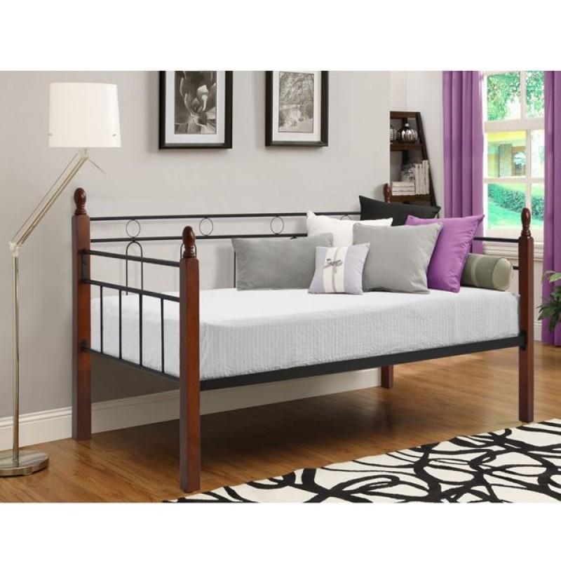 """Καναπές κρεβάτι """"MILA"""" από μέταλλο/ξύλο σε χρώμα μαύρο/καφέ 200x92,5x97"""