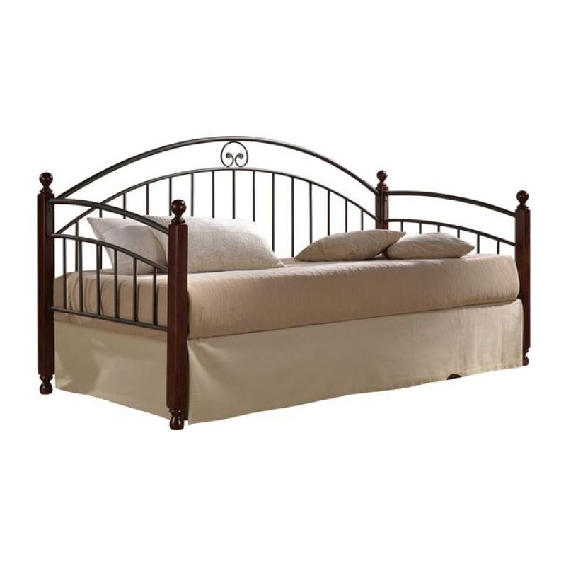 """Καναπές κρεβάτι """"CAROL"""" από μέταλλο/ξύλο σε χρώμα μαύρο/καφέ 93x202x109"""