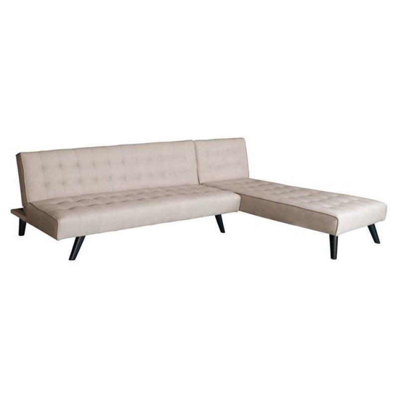 Καναπές κρεβάτι γωνία από ύφασμα σε χρώμα μπεζ 253x166x73