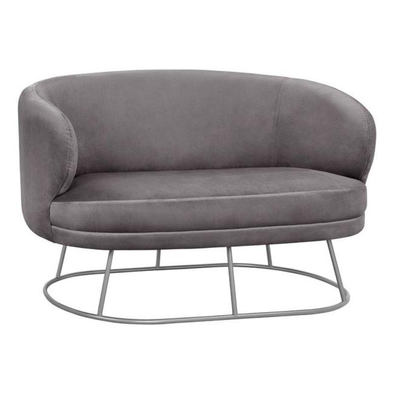 """Καναπές """"ARIEN"""" διθέσιος από ύφασμα σε χρώμα γκρι βελούδο 125x80x84"""