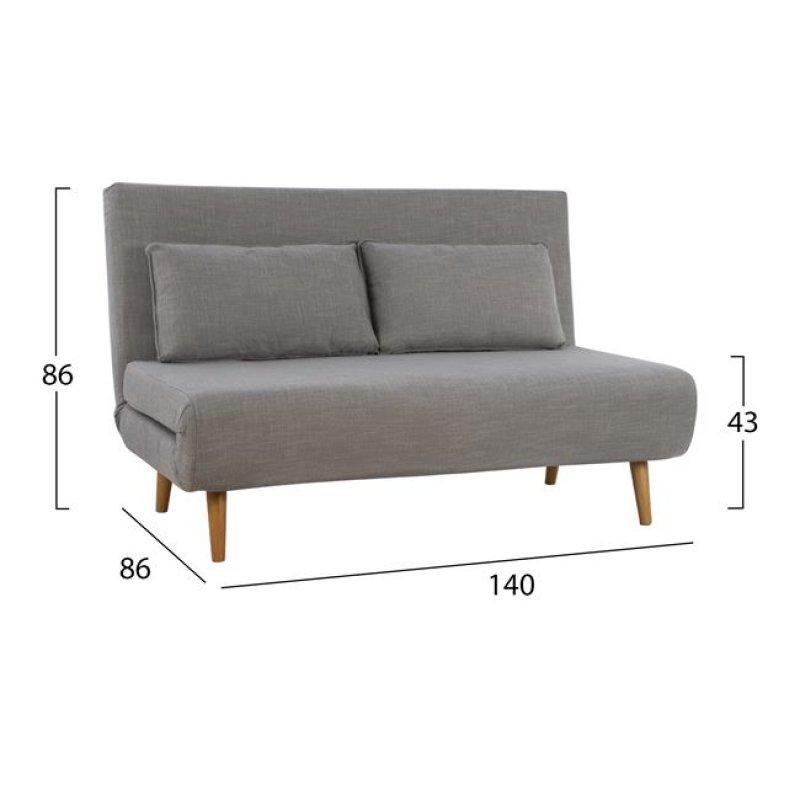 Καναπές κρεβάτι από ύφασμα σε χρώμα ανθρακί 140x86x86
