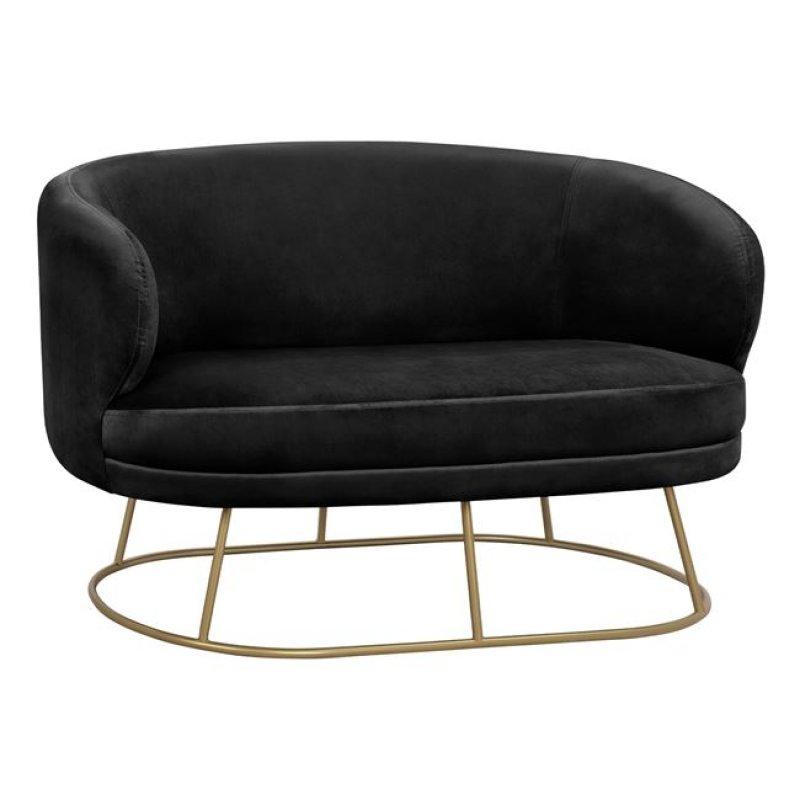 """Καναπές """"ARIEN"""" διθέσιος από ύφασμα σε χρώμα μαύρο/χρυσό 125x80x84"""