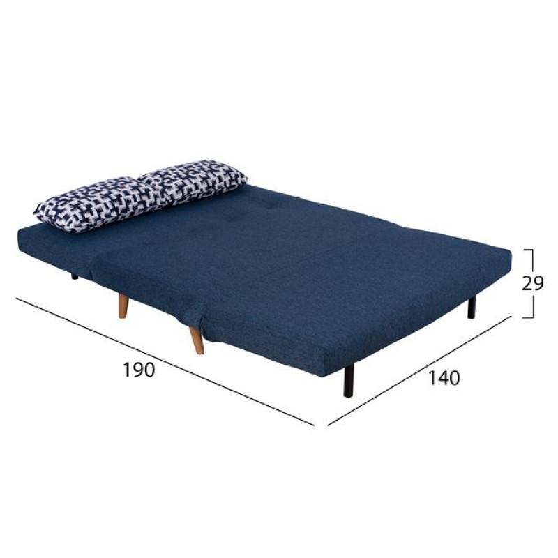 Καναπές κρεβάτι από ύφασμα σε χρώμα μπλε 140x86x86