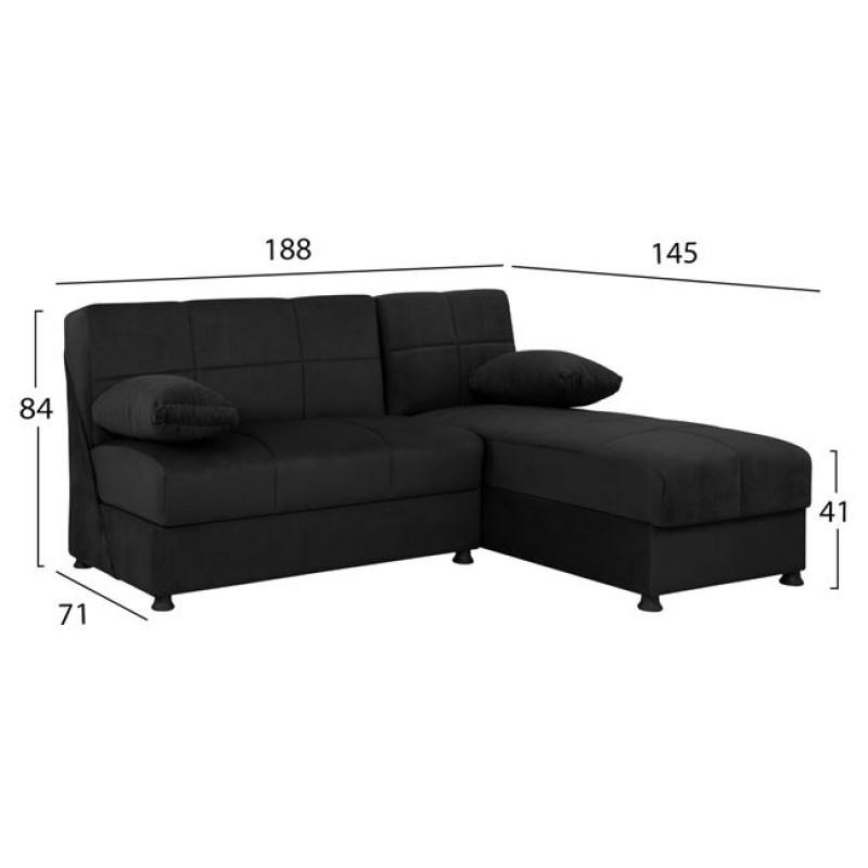 Καναπές γωνία από ύφασμα σε χρώμα μαύρο 188x145x84