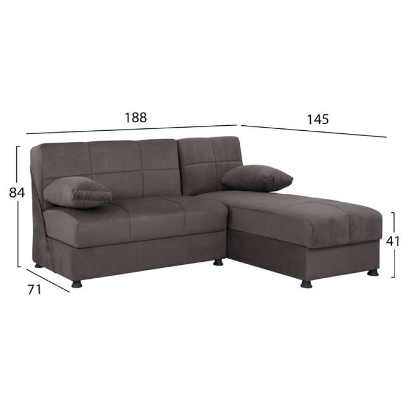 """Καναπές """"EGE"""" γωνιακός από ύφασμα σε χρώμα γκρι 188x145x84"""