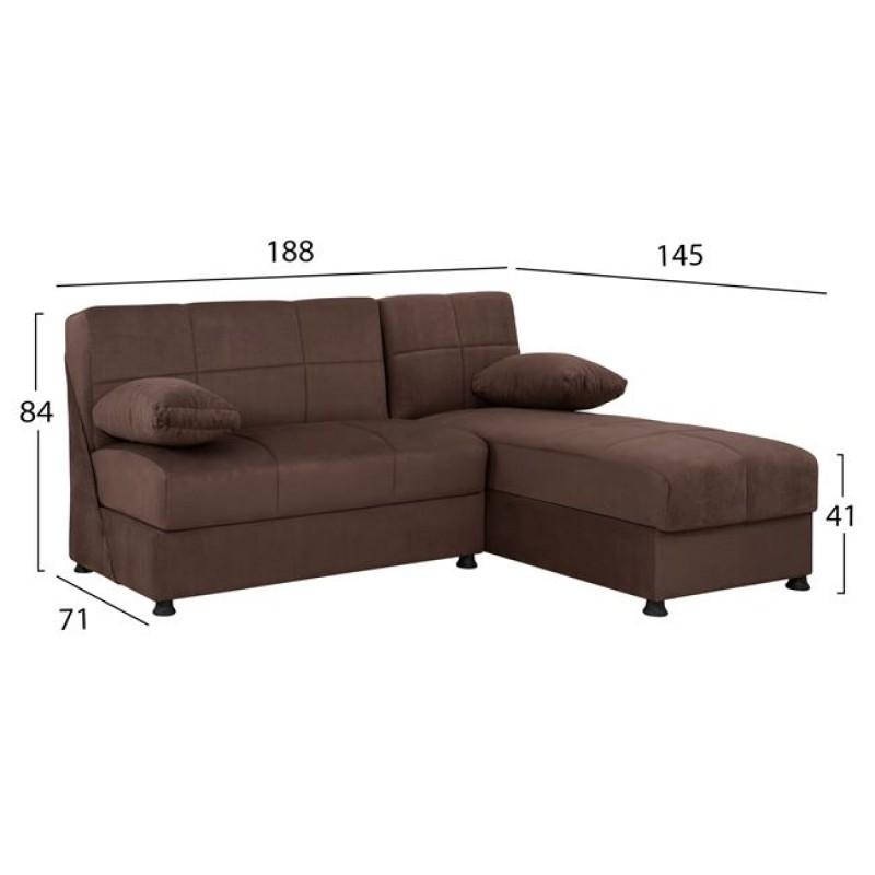 """Καναπές """"EGE """" γωνιακός από ύφασμα σε χρώμα καφέ 188x145x84"""