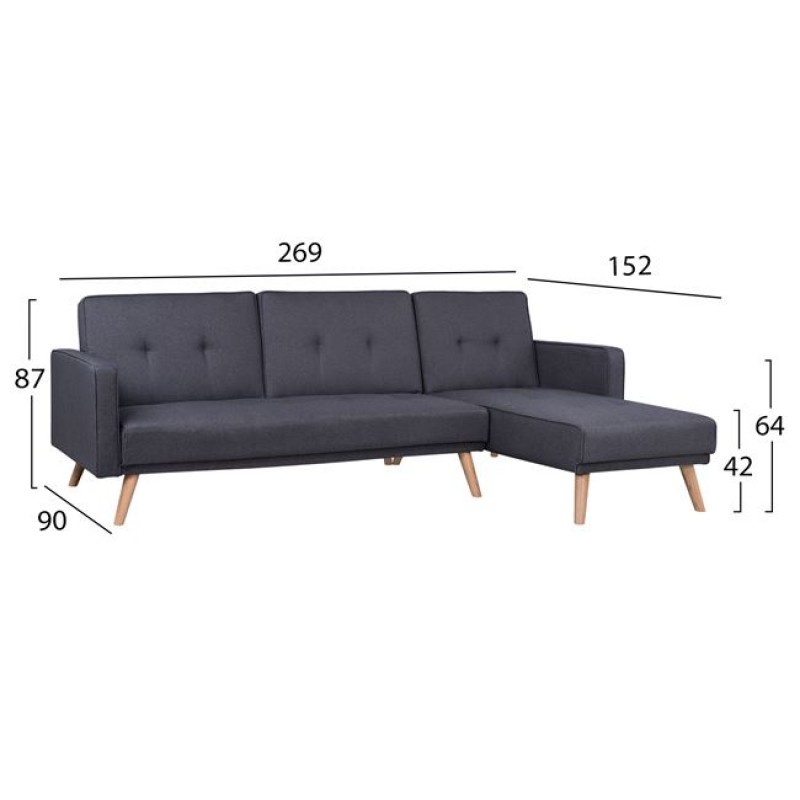 """Καναπές """"TALIA"""" γωνία από ύφασμα σε χρώμα γκρι 269x152x87"""