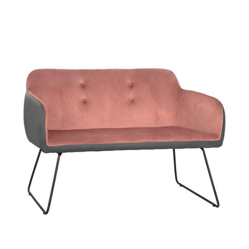 """Καναπές """"ABIGAIL"""" διθέσιος από βελούδο/PU σε χρώμα σάπιο μήλο/γκρι 145x60x90"""