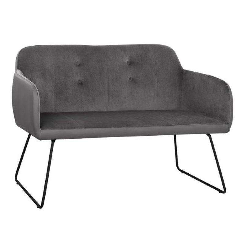 """Καναπές """"ABIGAIL"""" διθέσιος από ύφασμα/PU σε χρώμα γκρι 145x60x90"""