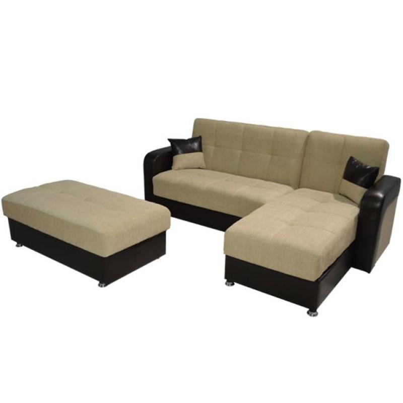 """Καναπές γωνιακός κρεβάτι """"BERRA"""" από ύφασμα/PU σε χρώμα καφέ/εκρού 230x160x90"""