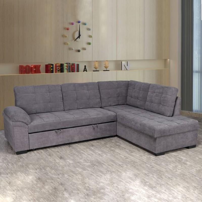 """Καναπές γωνιακός κρεβάτι """"JADE"""" από ύφασμα σε χρώμα γκρι 248x159x84"""