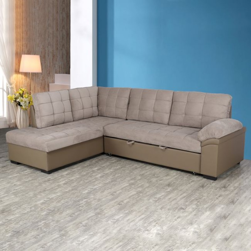 """Καναπές γωνιακός κρεβάτι """"JADE"""" από ύφασμα σε χρώμα μπεζ 248x159x84"""