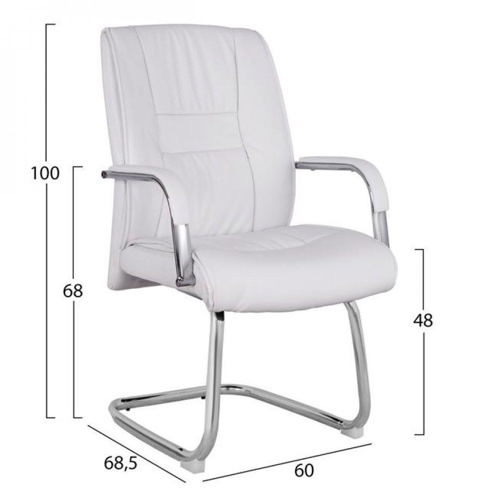 Πολυθρόνα επισκέπτη από PU σε χρώμα λευκό 60x68,5x100