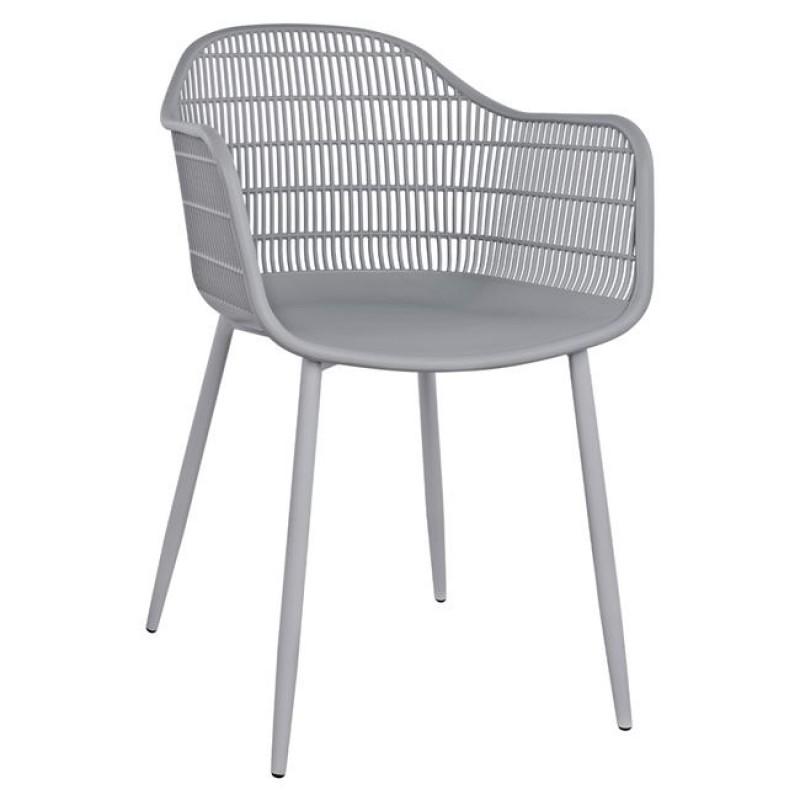 """Πολυθρόνα """"HADI"""" από PP/μέταλλο σε χρώμα γκρι 61x57x85"""