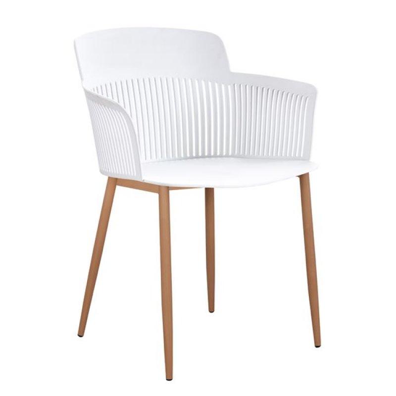 """Πολυθρόνα """"NENA"""" από PP/μέταλλο σε χρώμα λευκό/φυσικό 61x52x80"""