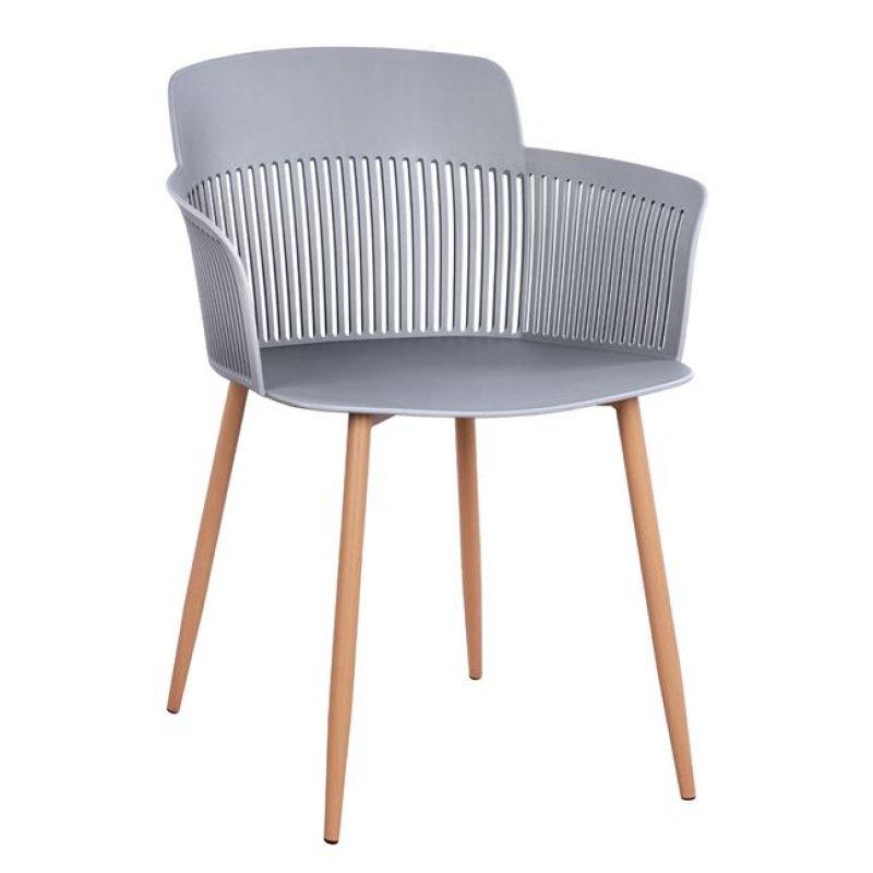 """Πολυθρόνα """"NENA"""" από PP/μέταλλο σε χρώμα γκρι/φυσικό 61x52x80"""