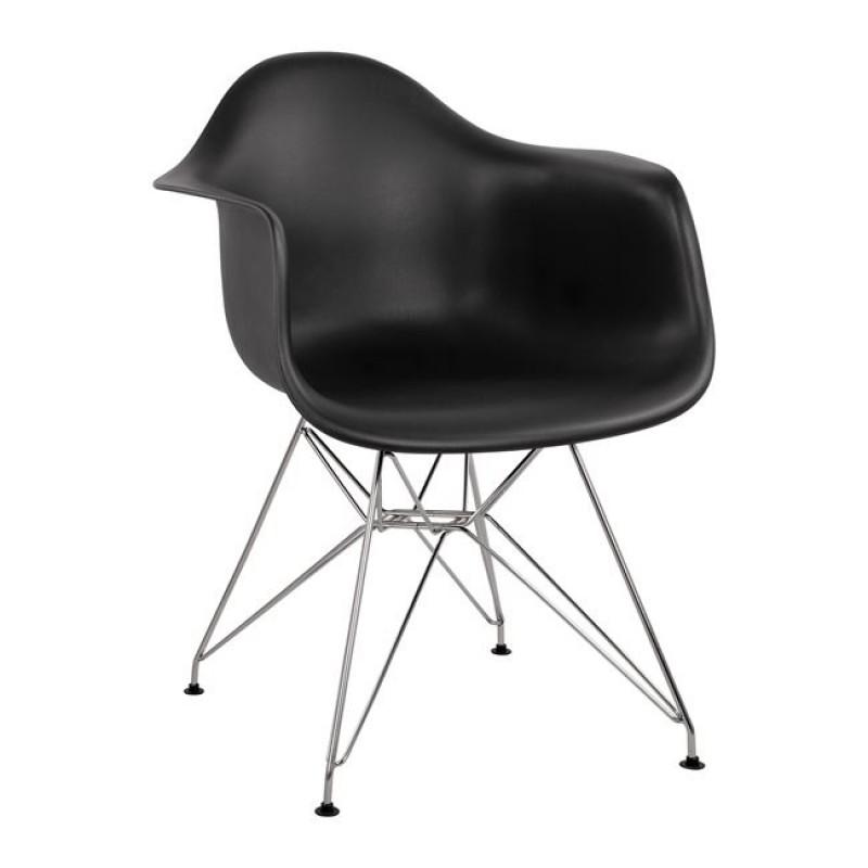 """Πολυθρόνα """"MIRTO"""" μεταλλική/PP σε χρώμα μαύρο 61x60x84"""
