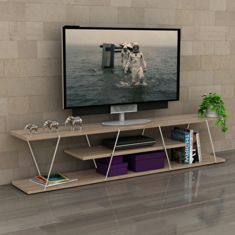"""Έπιπλο τηλεόρασης """"TARS"""" σε χρώμα σονόμα/λευκό 143x32x31"""