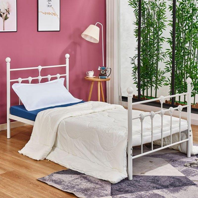 Κρεβάτι μονό μεταλλικό σε χρώμα λευκό 95x200x105