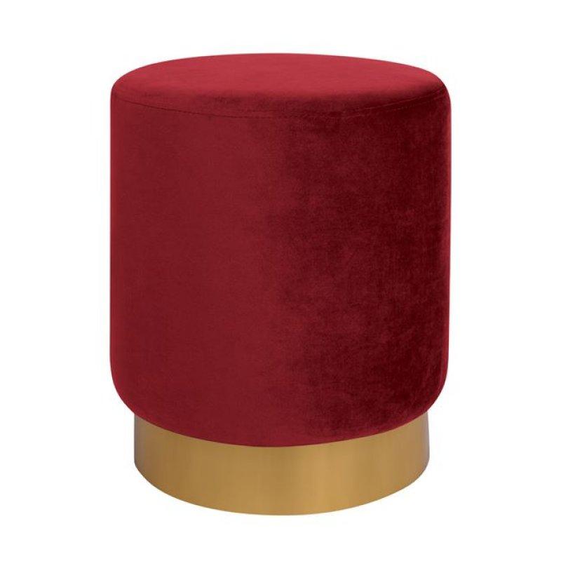 """Σκαμπό """"LEVY"""" βελούδο σε χρώμα κόκκινο/χρυσό Φ35x43"""