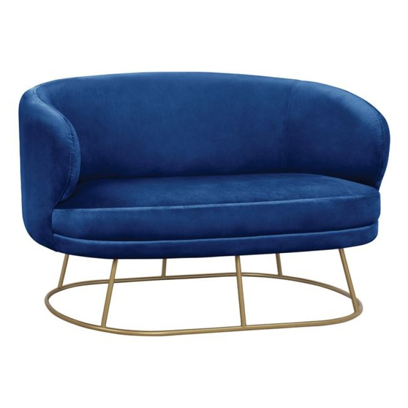 """Καναπές διθέσιος """"ARIEN"""" από μέταλλο/ύφασμα σε χρώμα μπλε/χρυσό 125x80x84"""