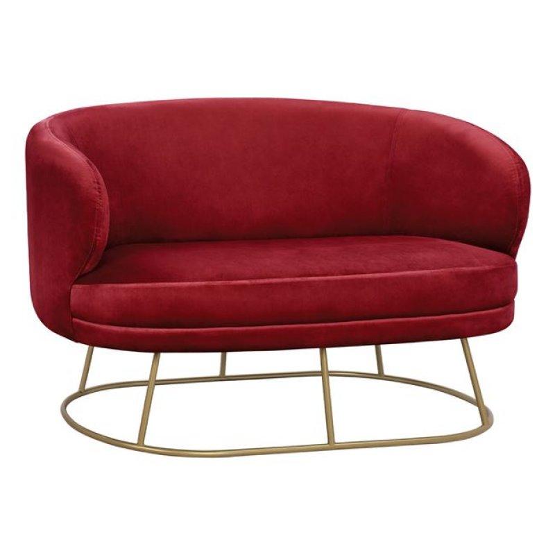"""Καναπές διθέσιος """"ARIEN"""" από βελούδο σε χρώμα κόκκινο/χρυσό 125x80x84"""